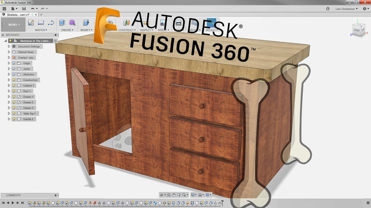Skeletons in The Wood Cabinet — Fusion 360 Tutorial — #LarsLive 112