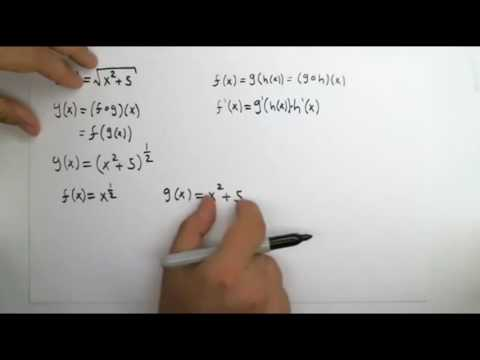 Lesson on chain rule for the derivative (x^2+5)^(1/2) or sqrt(x^2+5)