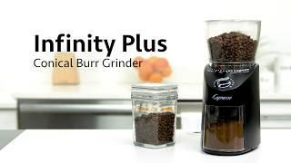 Capresso - Infinity Conical Burr Grinder - Black or Silver video