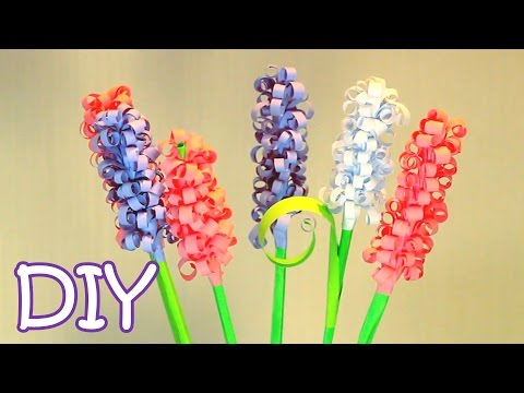 DIY Curly Paper Flowers - How to make Swirly Paper Hyacinths