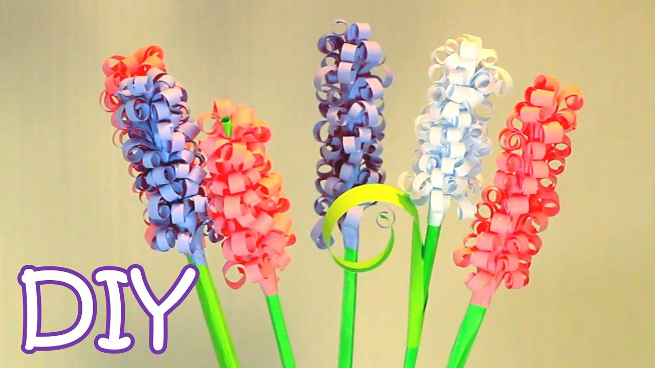Diy Curly Paper Flowers How To Make Swirly Paper Hyacinths Youtube