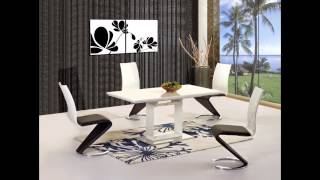 Black / White High Gloss Dining Table And 6 Chairs