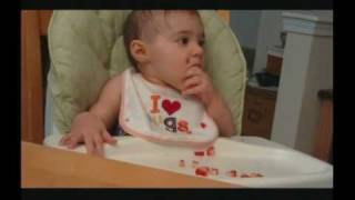 Cute Baby Girl Sophia Eats Strawberries