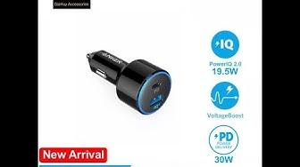 Sạc ô tô ANKER PowerDrive Speed II, 49.5W - 2 Cổng (1 USB-C PD 30W & 1 IQ 2.0 19.5W) - A2229