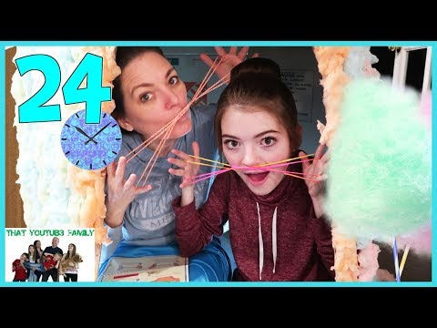 24 Hours In Cotton Candy Box Fort🍭📦  That YouTub3 Family
