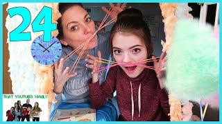 24 Hours In Cotton Candy Box Fort🍭📦 / That YouTub3 Family
