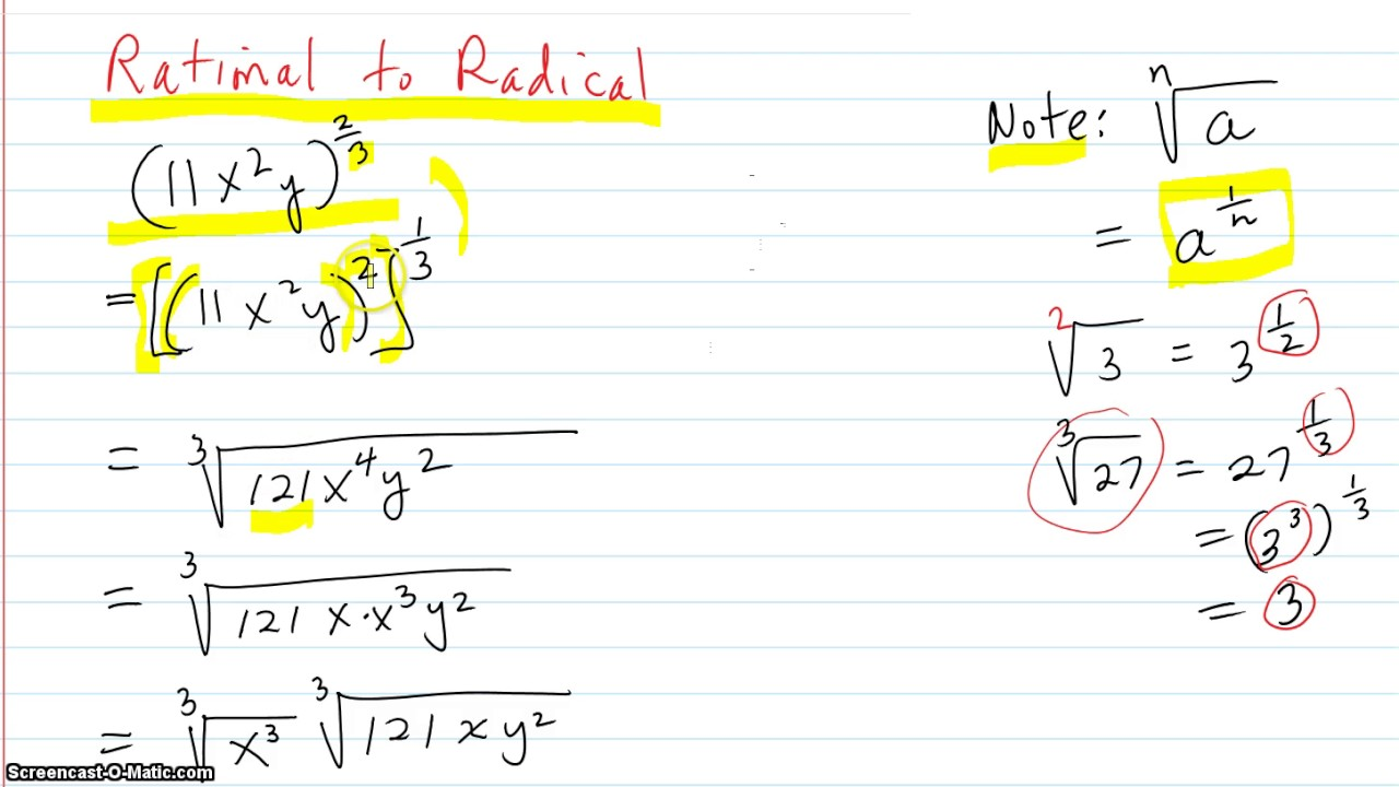 Rewriting roots as rational exponents