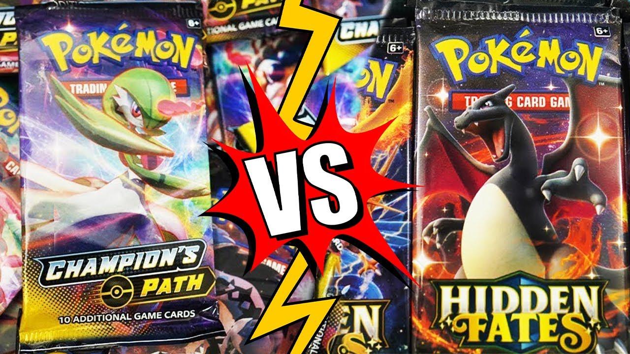 25x Champion's Path VS 25x Hidden Fates! Pokemon Booster Packs