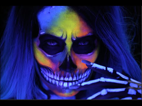 SKULL MAKEUP / Neon & BLACKLIGHT Halloween Hat  Tutorial