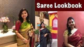 My Saree Lookbook for Festive Season - Part 1 || Bengali Ethnic || Durga Puja 2018