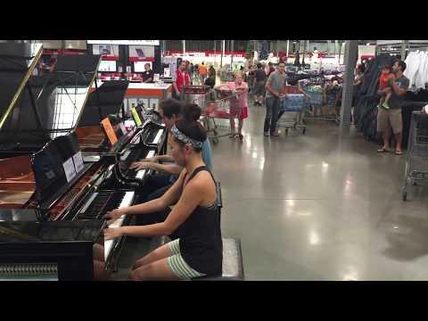 COSTCO PIANO GIRL & SALESMAN IMPROV: Adele Someone Like You