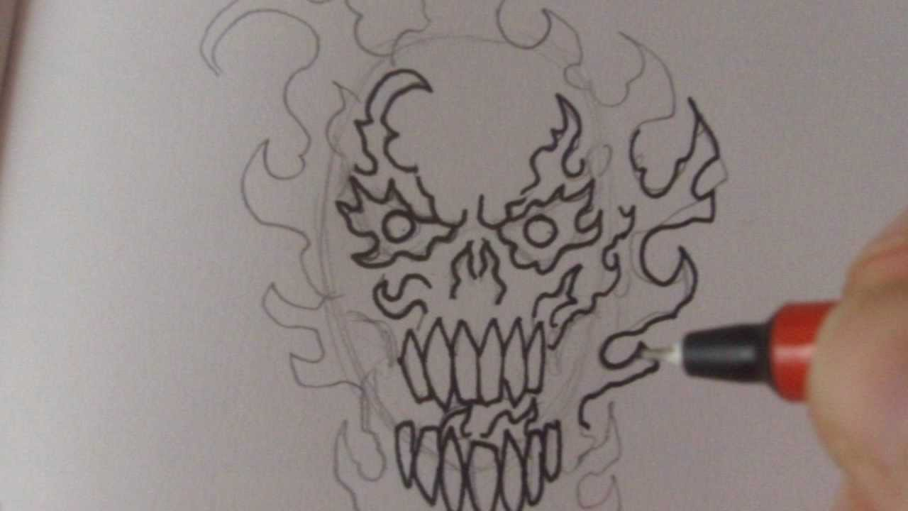 How To Draw A Fire Skull