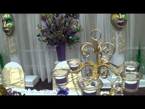 mardi gras sweet 16, quinceanera, party, decorations, san antonio