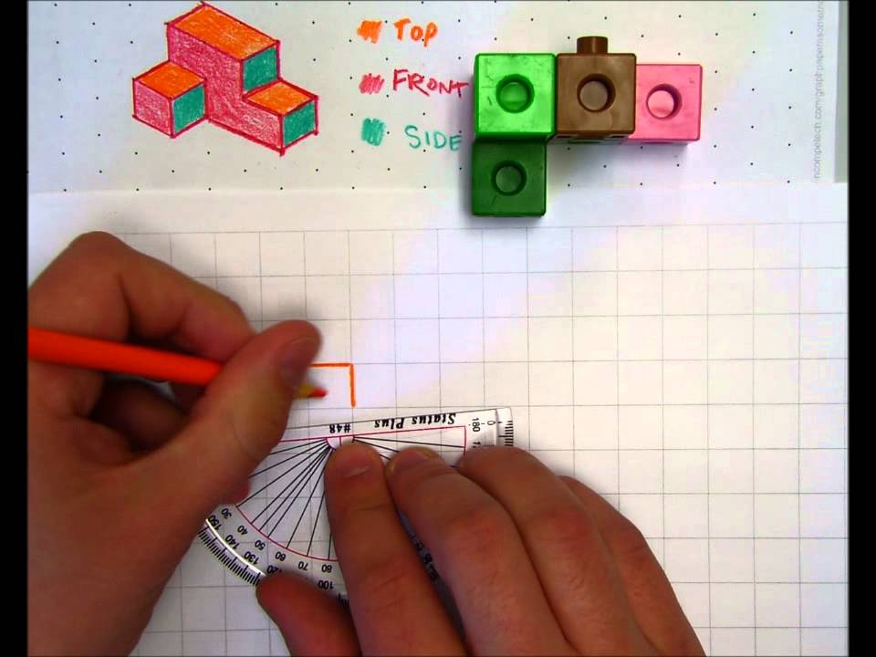 how to draw front side and top view of3d cube