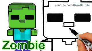 How to Draw Minecraft Zombie Cute and Easy step by step