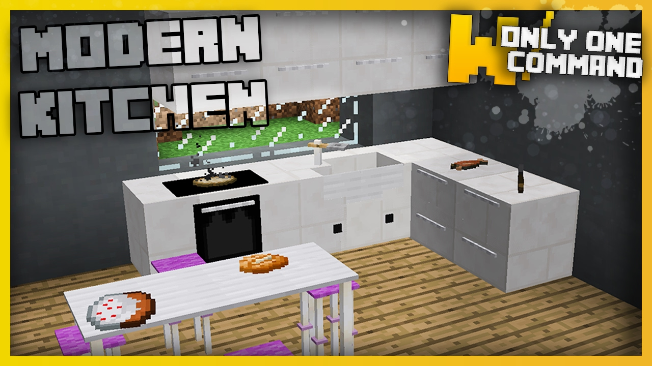 Minecraft Furniture Kitchen Minecraft   Modern Kitchen Furniture With Only  Two Command Blocks