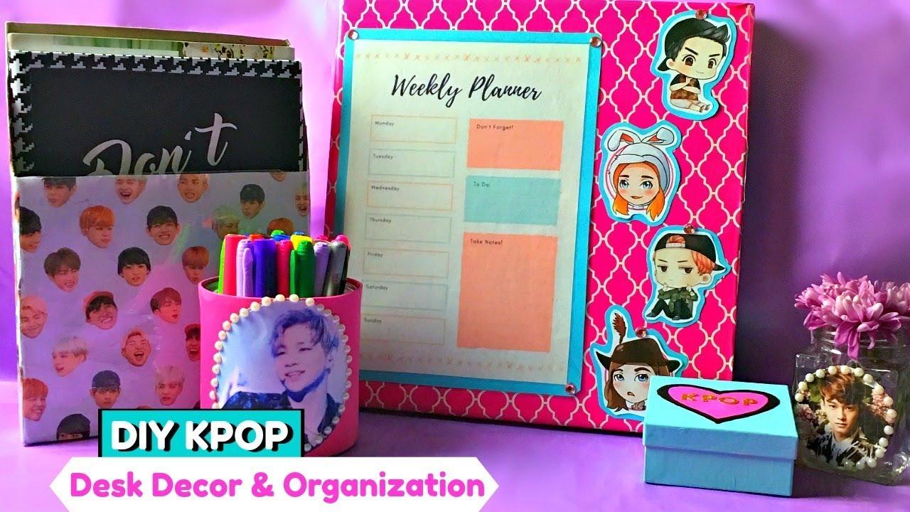 Diy Kpop Calendar : Diy kpop desk decor organization recycle youtube