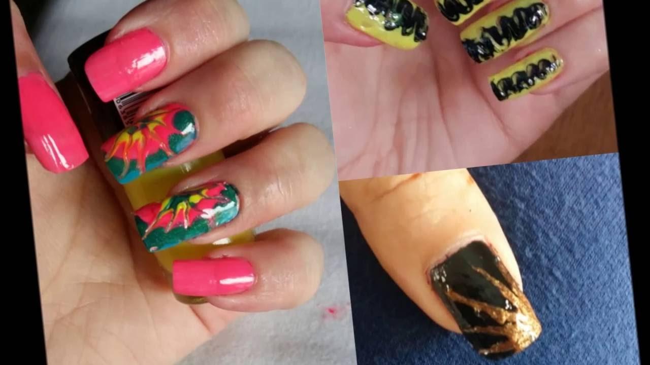DIY-3 easy nail art designs without tools-no nailart kit/tools ...