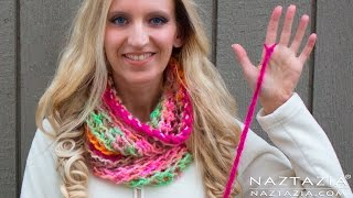 DIY Tutorial - How to Finger Crochet Very Easy Simple Infinity Scarf Cowl Beginners - RIGHT HAND