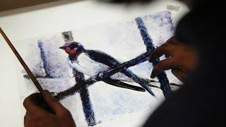 Ласточка - живопись на стекле/ Swallow - painting on glass