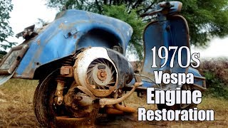 Restoration of 1961 Italian Vespa 150cc Engine Tear Down | Disassembling of Piaggio Engine