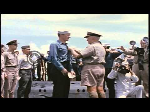 US Navy Fleet Admiral Chester William Nimitz presenting awards to officers and sa...HD Stock Footage