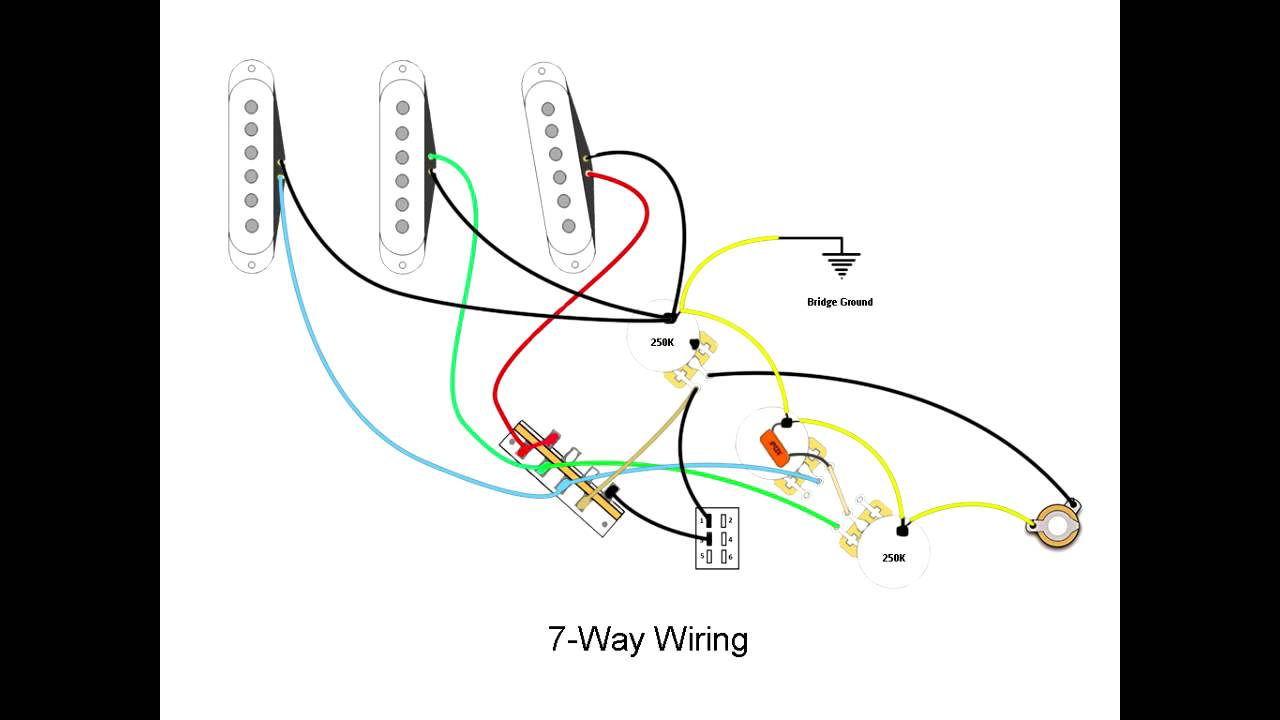 7-Way Stratocaster Wiring Mod - YouTube on strat parts, strat switch, strat colors, gas pump diagram, fender diagram, strat guitar, electric starter diagram, brian diagram, strat gold pickguard, strat harness diagram, strat bridge tone mod, strat tone controls, guitar diagram, strat body, strat trem block, strat dimensions, stratocaster diagram, strat schematic, alpine wire harness diagram, strat headstock,