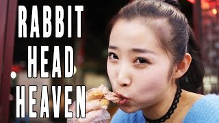 Chinese Food With A Local Girl | Sichuan Rabbit Head On The Street in Chengdu