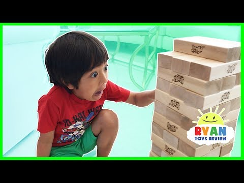 GIANT JENGA CHALLENGE! Parent vs Kid Family Fun Game for Kids