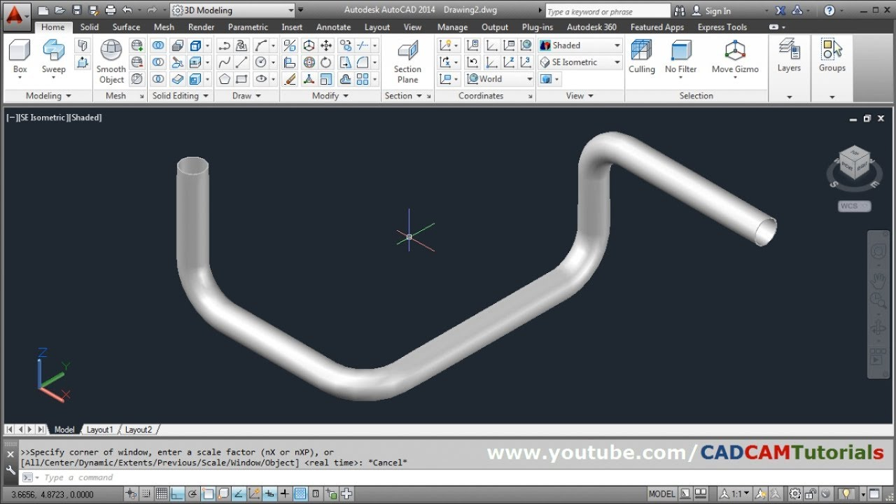 Autocad 3d Pipe Design Tutorial How To Create 3d Pipe In Autocad Youtube