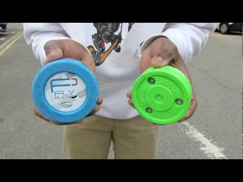 Flypuck vs Green Biscuit - Fly Puck Compared to the Green Biscuit Off Ice Training Puck