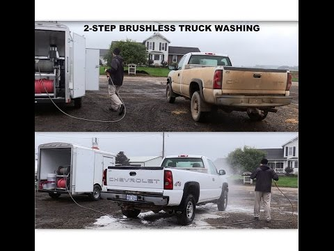 2-step truck washing demo cleaning a filthy farm truck.