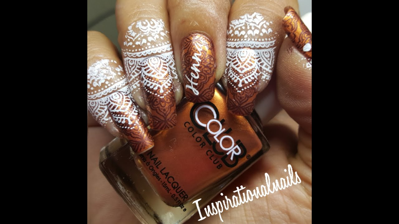 How Make Mehndi For Nails : Nail stamping time henna inspired mani youtube