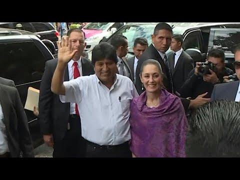 AFP news agency: Mexico City mayor Sheinbaum greets Evo Morales | AFP