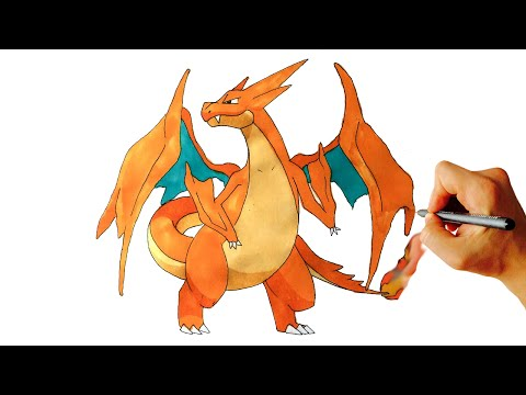 How to draw Mega Charizard Y from Pokémon X Y drawing lesson