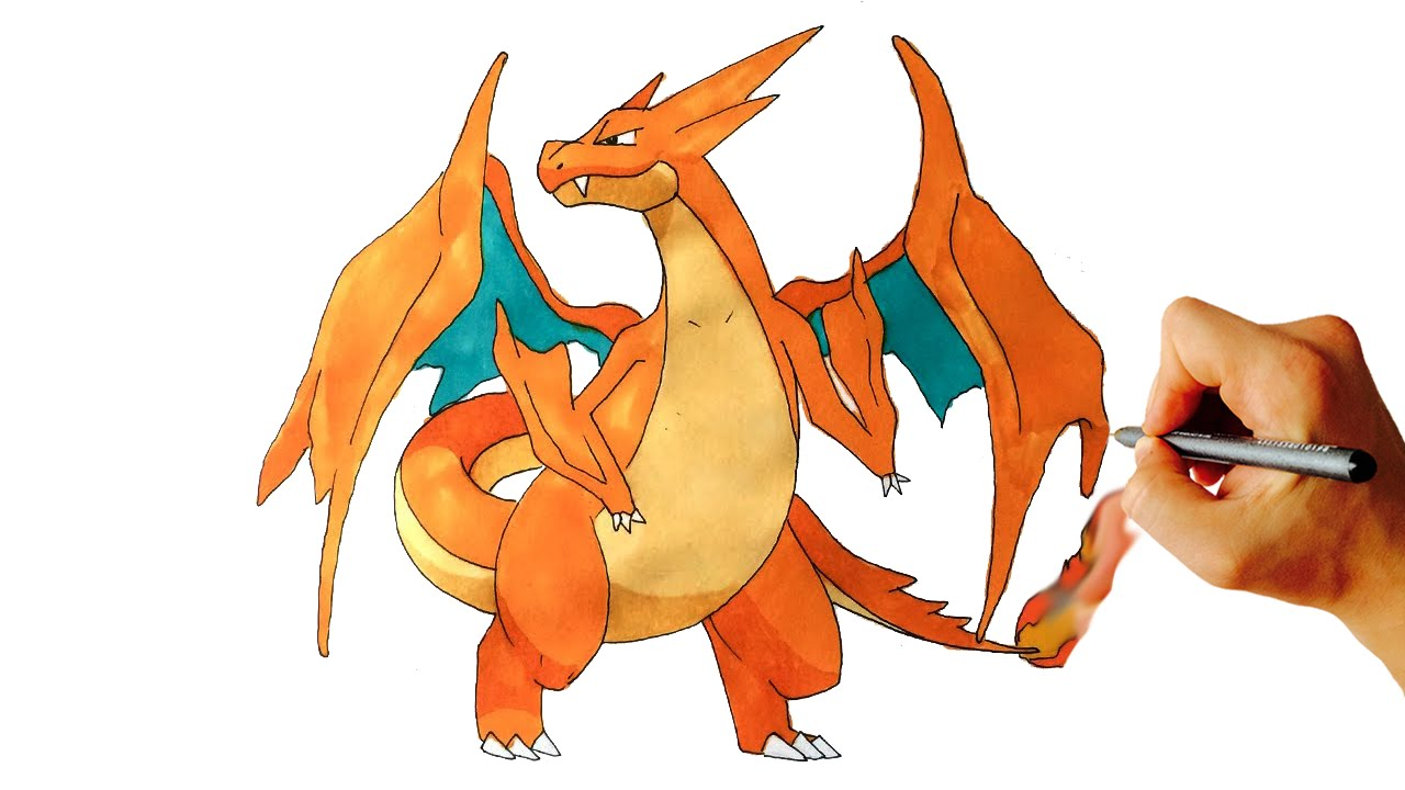 how to draw mega charizard y from pokémon x y drawing lesson youtube
