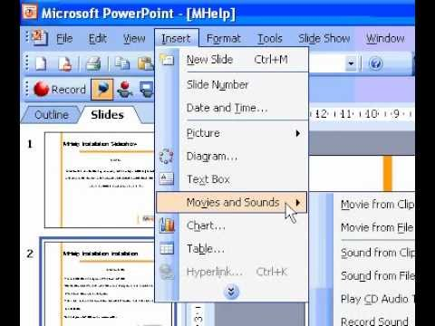 Microsoft Office PowerPoint 2003 Add music songs, or sound effects