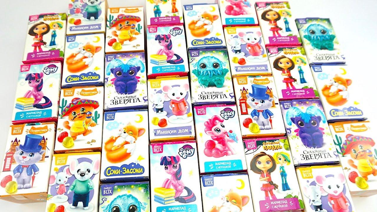 Целая куча сюрпризов, открываем и собираем игрушки из мультиков