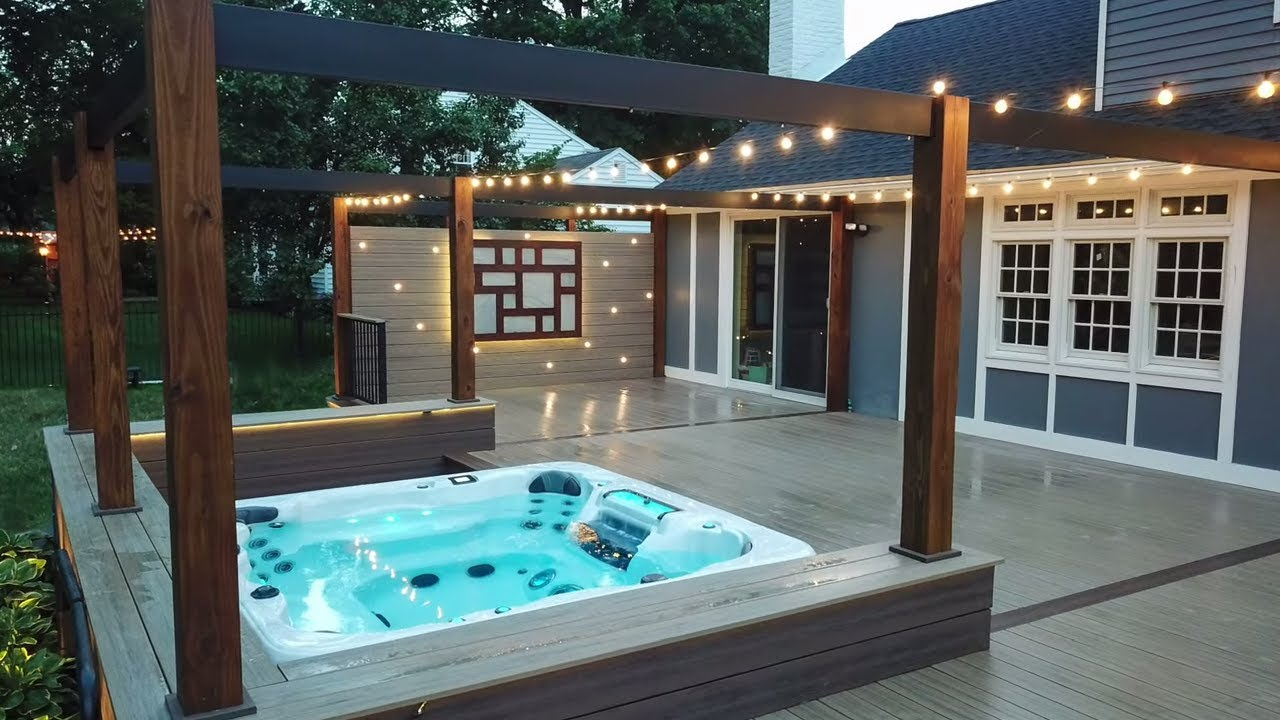 incredible deck with built in hot tub full backyard makeover time lapse