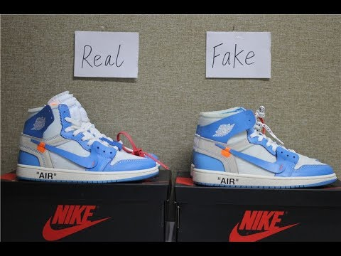 fb68250ae5adc7 Real VS Fake  Off-White Air Jordan 1 UNC Comparision Review - YouTube