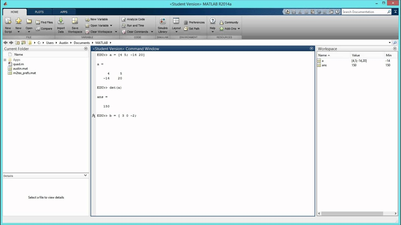 How to find the determinant of a matrix in matlab hd for Table 2 matrix matlab