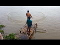 Net Fishing At The Provinces - Cambodian Cast Net Fishing In River - Cambodia Traditional Fishing #5