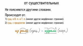 Происхождение наречий от существительных (6 класс, видеоурок-презентация)