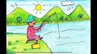How to Draw a Man Fishing Scenery - Step by Step
