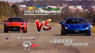 Jaguar F-Type SVR vs Ferrari 488 Spider - Motorgrid Drag Race