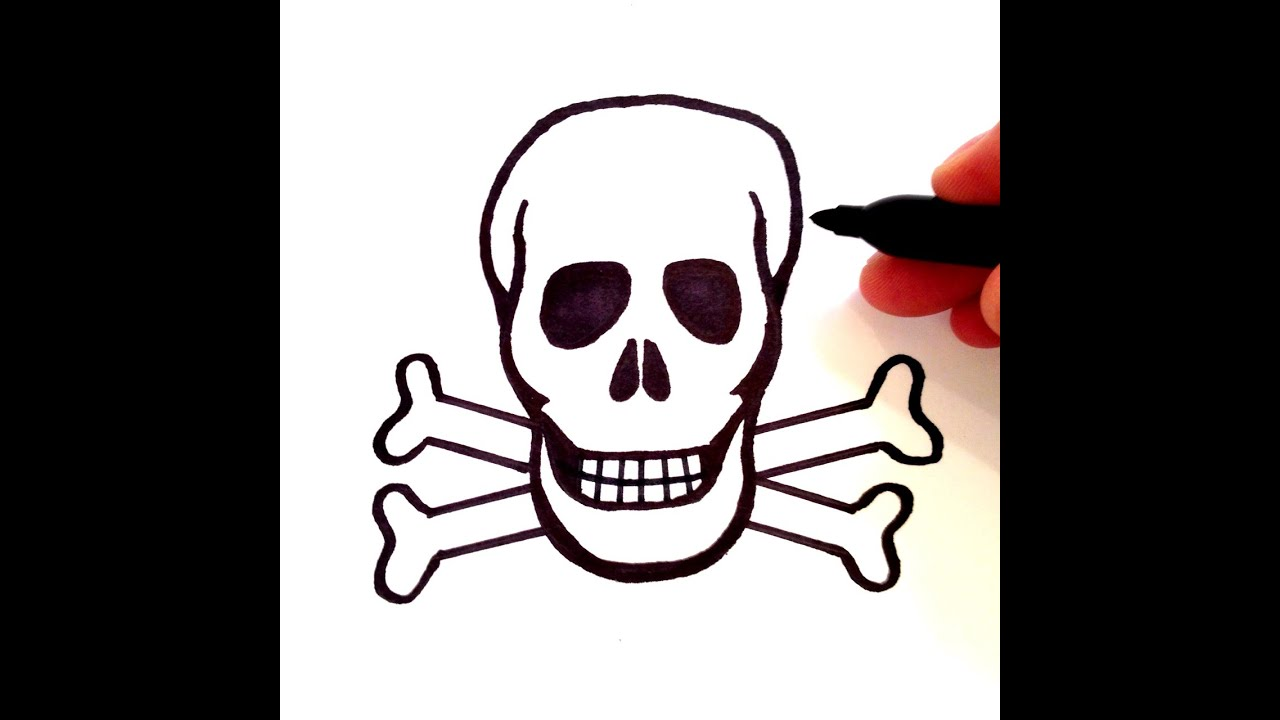 How To Draw A Skull With Crossbones Youtube