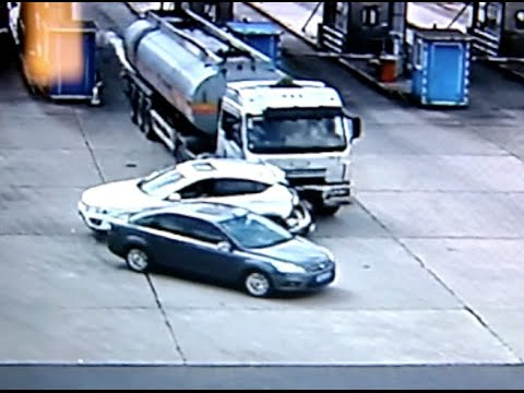 Carrier Vehicle Crashes into Highway Toll Station in E China City