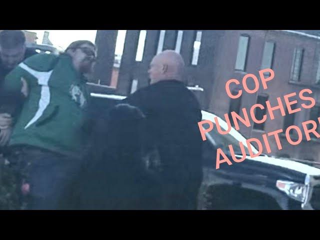 COP PUNCHES HANDCUFFED AUDITOR! 1ST AMENDMENT AUDIT FAIL!