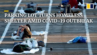 Homeless in Las Vegas placed in outdoor parking lot for social-distancing