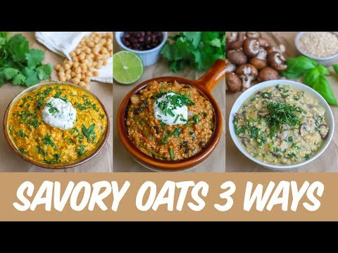 Savory Oats 3 Ways: Risotto, Chili, and Curry (vegan + gluten free + oil free + salt free)